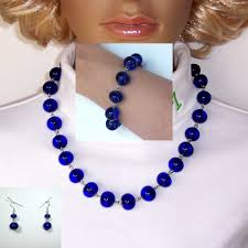 beaded bracelet glass pearl images 19 inch vibrant blue glass bead earrings bracelet and necklace jpg