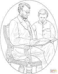 abraham lincoln with his son coloring page free printable