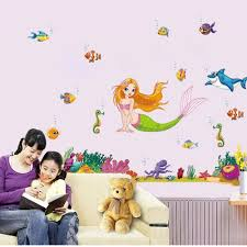compare prices on mermaid wall stickers online shopping buy low cartoon mermaid fish wall stickers home decor bathroom diy poster animal wallpaper removable sticker nursery kdis