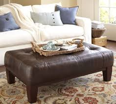 Leather Ottomans Coffee Tables by Sullivan Leather Rectangular Ottoman Pottery Barn