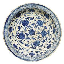 28 Light Blue And White A Timurid Blue And White Pottery Dish Persia Probably Tabriz