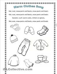 winter clothes song en hommage to arianey u0027s version worksheet