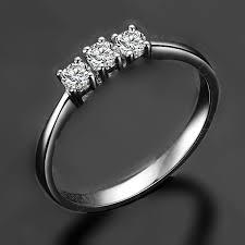 3 diamond rings genuine gold solid jewelry 3 stones ring mini wedding diamond ring