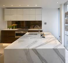 stunning carrera marble bespoke kitchen island with inset ice