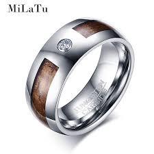 tungsten wedding ring aliexpress buy milatu cz wood grain tungsten wedding