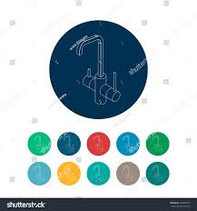kitchen faucet isometric round icons set stock vector 482875516