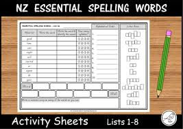 new zealand essential spelling words lists 1 4 word searches