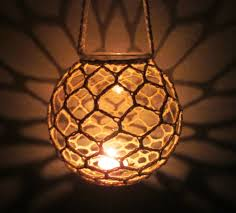 Candles Home Decor Clear Glass Globe Hanging Candle Holder Crocheted Lantern Home