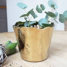 gold wave hammered planter by marquis u0026 dawe notonthehighstreet com