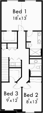 narrow house plans narrow row house w large master open living area sv 726m