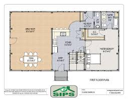 floor plan 1440 sqft wing shaped single level log home rancher