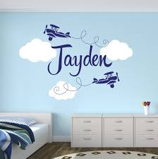 Boys Name Airplane Clouds Decal Nursery Boys Personalized Name