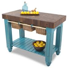 kitchen butcher block table 3 wicker basket drawers boos