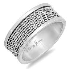 metal wire rings images Steeltime men 39 s stainless steel rings jpg