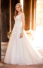 a line wedding dress a line wedding dress with illusion neckline stella york