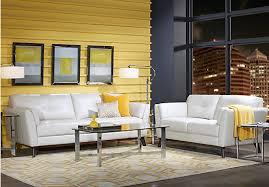 Sofia Vergara Gabriele White  Pc Leather Living Room Leather - White leather living room set
