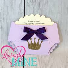 princess baby shower diaper invitations in lavender purple and