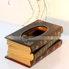apache retro classical book shape wooden tissue box cover