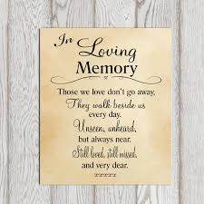 in loving memory items in loving memory printable memorial table wedding memorial