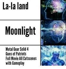 Metal Gear Solid Meme - la la land moonlight metal gear solid 4 guns of patriots full