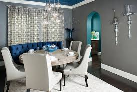 gray dining room ideas popular gray dining room with custom designed blue banquet and