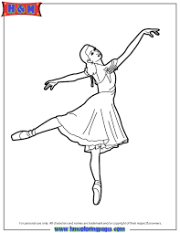Ballerina Wearing Pointe Shoes Tip Toe Coloring Page H M Ballerina Printable Coloring Pages