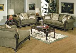 The Living Room Furniture Glasgow Alpine Microfiber Traditional Living Room Sofa W Wooden Accents