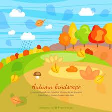 imagenes animadas de otoño paisaje de otoño en estilo de dibujos animados descargar vectores