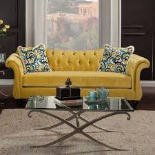 Traditional Tufted Sofa by Ii Sm2223 Sofa In Royal Yellow Fabric W Options