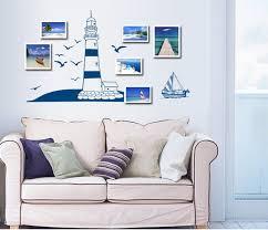 lighthouse home decor lp blue seaside lighthouse vinyl wall stickers for kids bedroom