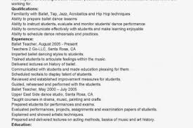 Ballet Resume Sample by Sample Resume For Ballet Dancer Reentrycorps