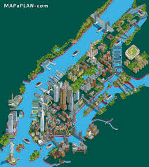 New York City Area Map by Landmarks Aerial Birds Eye View New York Top Tourist Attractions