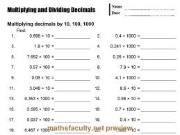 dividing a decimal by a whole number worksheet free worksheets