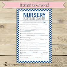 nursery rhyme baby shower navy blue baby shower nursery rhyme printable instant