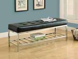 amazon com monarch leather look chrome metal bench 48 inch
