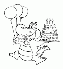 happy alligator with birthday cake coloring page for kids holiday