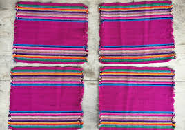 set of four vintage woven placemats mexican placemats bohemian