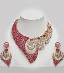 fashion jewelry necklace set images Pink white stones studded wedding jewellery set costume jpg