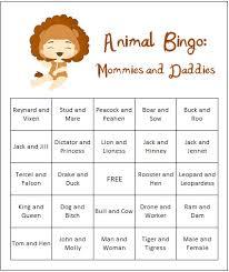free baby shower games printouts animal themed printable bingo