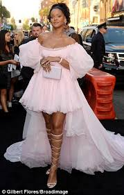 rihanna stuns in pink off the shoulder gown at la premiere daily