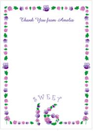 sweet sixteen invitation floral border