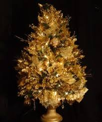 mini tabletop gold u0026 antique white christmas tree 17 inches