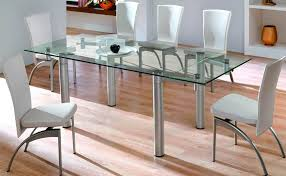 Glass And Chrome Dining Table Modern Glass Top Dining Table