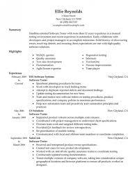 Resume Builder Job Description by The Most Elegant Sample Resume For Software Tester Resume Format Web