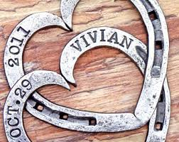 heart shaped horseshoes personalised with names and date forged iron steel