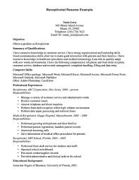 resume exles for customer service position nursing home receptionist resumee templates format for customer