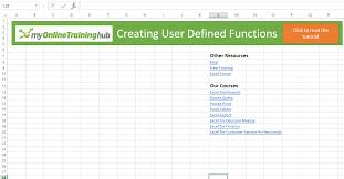 creating a udf user defined function in excel