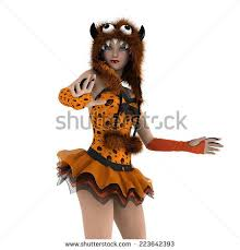Tigress Halloween Costume Tigress Woman Costume Ears Tail Party Stock Vector 658044901