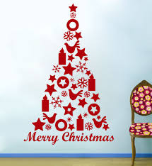 christmas tree wall decals christmas lights decoration 76x56cm feliz natal adesivo de parede merry christmas tree star birds wall stickers shop window decor