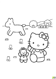 coloriage hello kitty sur un cheval